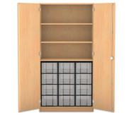 Flexeo Hochschrank mit Drehtüren, 3 Fachböden 12 grosse Boxen, HxB: 190 x 94,4 cm