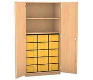 Flexeo Hochschrank mit Drehtüren, 2 Fachböden 15 grosse Boxen