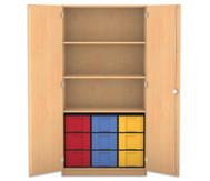 Flexeo Hochschrank mit Drehtüren, 3 Fachböden 9 grosse Boxen