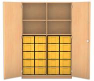 Flexeo Hochschrank mit Drehtüren, 4 Fachböden mit Mittelwand, 20 grosse Boxen