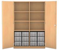 Flexeo Hochschrank mit Drehtüren, 6 Fachböden mit Mittelwand, 12 grosse Boxen