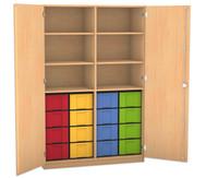 Flexeo Hochschrank mit Drehtüren, 6 Fachböden mit Mittelwand, 16 grosse Boxen