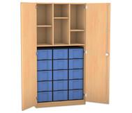 Flexeo Hochschrank mit Drehtüren, 2 Mittelwände, 3 Fachböden, 15 grosse Boxen