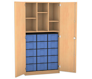 Flexeo Hochschrank mit Drehtüren, 2 Mittelwände, 3 Fachböden, 15 grosse Boxen, HxB: 190 x 94,4 cm