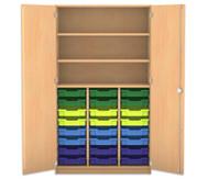 Flexeo Hochschrank mit 3 großen Fächern, 24 Gratnells-Boxen und Türen