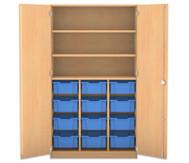 Flexeo Hochschrank mit Drehtüren, 12 grosse Boxen oben 2 Fachböden
