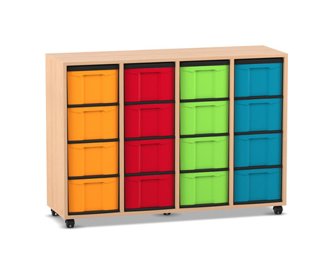 Flexeo Regal 4 Reihen 16 grosse Boxen HxBxT 923 x 1307 x 408 cm