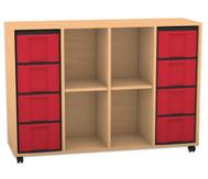 Flexeo Regal, 4 Reihen, 2 Fachböden, 8 grosse Boxen