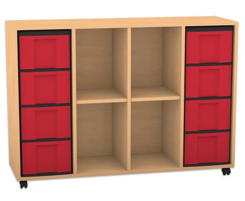 Flexeo Regal mit 4 Reihen 4 Faechern und 8 grossen Boxen