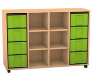 Flexeo Regal, 4 Reihen, 4 Fachböden, 8 grosse Boxen HxBxT: 93 x 130,7 x 40,8 cm