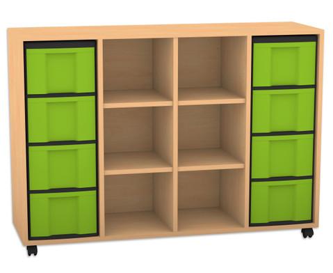 Flexeo Regal mit 3 Reihen 6 Faechern und 8 grossen Boxen