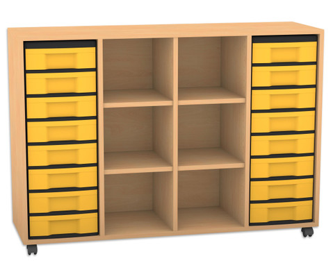 Flexeo Regal mit 3 Reihen 6 Faechern und 16 kleinen Boxen