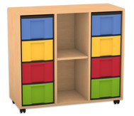 Flexeo Regal, 3 Reihen, 1 Fachboden, 8 grosse Boxen