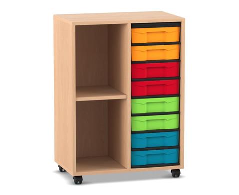 Flexeo Regal mit 2 Reihen 2 Faechern und 8 kleinen Boxen rechts