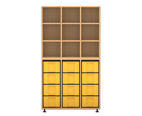 Flexeo Regal 3 Reihen 12 grosse Boxen HxBxT 1781 x 985 x 408 cm