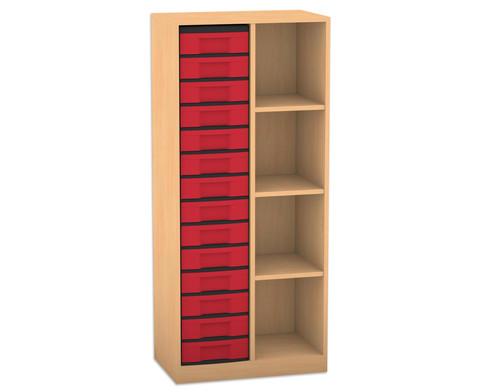 Flexeo Regal mit 2 Reihen 4 Faechern und 14 kleinen Boxen links