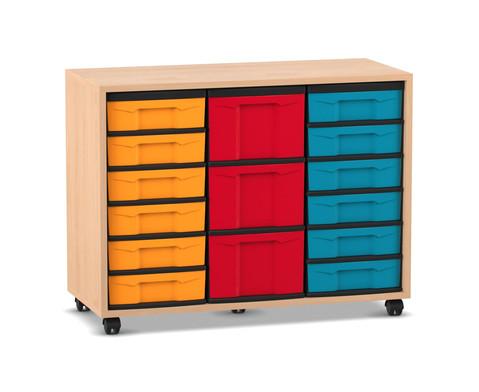Flexeo Regal mit 12 kleinen und 3 grossen Boxen