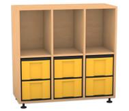 Flexeo Regal, 3 Reihen, 3 Fächer, 6 grosse Boxen HxBxT: 98 x 98,5 x 40,8 cm