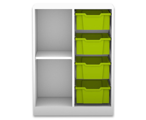 Flexeo Regal PRO 2 Reihen 4 grosse Boxen 1 Fachboden