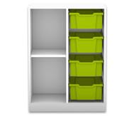Flexeo Regal PRO, 2 Reihen, 4 grosse Boxen, 1 Fachboden, HxBxT: 99,1 x 73,1 x 48 cm