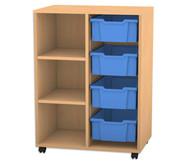 Flexeo Regal PRO, 2 Reihen, 4 grosse Boxen, 2 Fachböden, HxBxT: 99,1 x 73,1 x 48 cm
