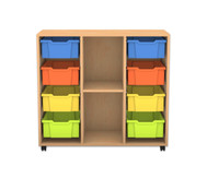 Flexeo Regal PRO, 3 Reihen, 8 grosse Boxen, 1 Fachboden, HxBxT: 99,1 x 108,5 x 48 cm