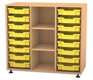 Flexeo Regal PRO mit 3 Reihen, 3 Fächern und 16 kleinen Boxen