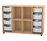 Flexeo Regal PRO, 4 Reihen, 8 grosse Boxen, 2 Fachböden, HxBxT: 99,1 x 143,9 x 48 cm