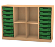 Flexeo Regal PRO mit 4 Reihen, 4 Fächern und 16 kleinen Boxen