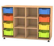Flexeo Regal PRO, 4 Reihen, 8 grosse Boxen, 4 Fachböden, HxBxT: 99,1 x 143,9 x 48 cm