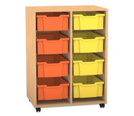 Flexeo Regal PRO, 2 Reihen, 8 grosse Boxen, H x B x T: 99,1 x 73,1 x 48 cm