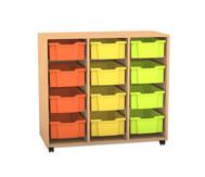 Flexeo Regal PRO, 3 Reihen, 12 grosse Boxen, HxBxT: 99,1 x 108,5 x 48 cm