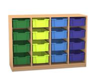 Flexeo Regal PRO, 4 Reihen, 16 grosse Boxen, HxBxT: 99,1 x 143,9 x 48 cm