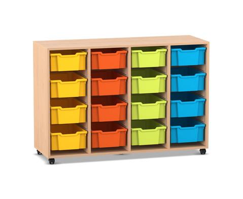 Flexeo Regal PRO mit 4 Reihen und 16 grossen Boxen