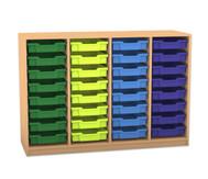Flexeo Regal PRO mit 4 Reihen und 32 kleinen Boxen