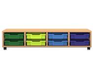Flexeo Regal PRO, 4, 8 kleine Boxen, HxBxT: 32,5 x 143,9 x 48 cm