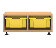 Flexeo Regal PRO, 2 Reihen, 2 grosse Boxen, HxBxT: 32,5 x 73,1 x 48 cm