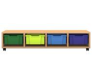Flexeo Regal PRO, 4 Reihen, 4 grosse Boxen, HxBxT: 32,5 x 143,9 x 48 cm