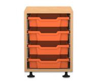 Flexeo Regal PRO, 1 Reihe, 4 kleine Boxen, HxBxT: 54,7 x 37,7 x 48 cm