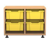 Flexeo Regal PRO, 2 Reihen, 4 grosse Boxen, HxBxT: 54,7 x 73,1 x 48 cm