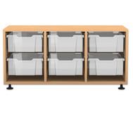 Flexeo Regal PRO, 3 Reihen, 6 grosse Boxen