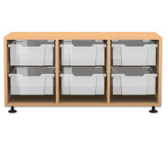 Flexeo Regal PRO, 3 Reihen, 6 grosse Boxen, HxBxT: 54,7 x 108,5 x 48 cm