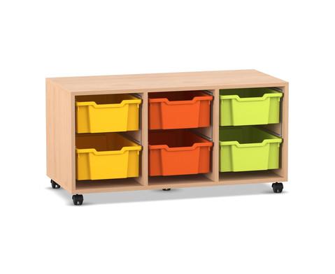 Flexeo Regal PRO mit 3 Reihen und 6 grossen Boxen