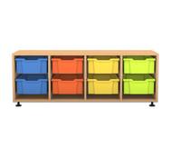 Flexeo Regal PRO, 4 Reihen, 8 grosse Boxen, HxBxT: 54,7 x 143,9 x 48 cm