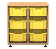 Flexeo Regal PRO, 2 Reihen, 6 grosse Boxen, HxBxT: 76,9 x 73,1 x 48 cm