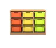 Flexeo Regal PRO, 3 Reihen, 9 grosse Boxen, HxBxT: 76,9 x 108,5 x 48 cm