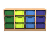 Flexeo Regal PRO, 4 Reihen, 12 grosse Boxen, HxBxT: 76,9 x 143,9 x 48 cm