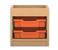 Flexeo Regal PRO mit 1 Reihe, 2 kleinen Boxen und Aufkantung