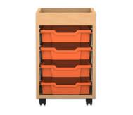 Flexeo Regal PRO mit 1 Reihe, 4 kleinen Boxen und Aufkantung