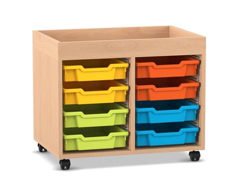 Flexeo Regal PRO mit 2 Reihen 8 kleinen Boxen und Aufkantung